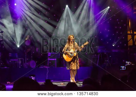 Rome Italy - June 21 2016: Carmen Consoli sings in Piazza Farnese on the stage of a public concert organized by the French Embassy in Rome at the European music festival.