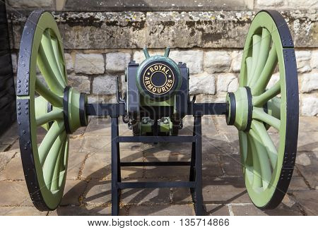 A cannon situated outside the Royal Armouries at the Tower of London.