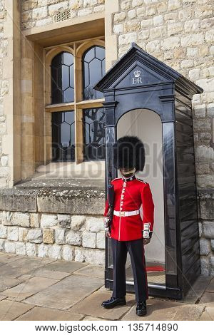 LONDON UK - APRIL 10TH 2016: A Queens Guard at the Tower of London on 10th April 2016.