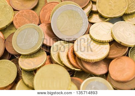 Heap Of Assorted Euro Coins