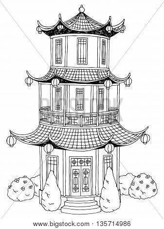 Pagoda graphic art black white garden landscape illustration vector