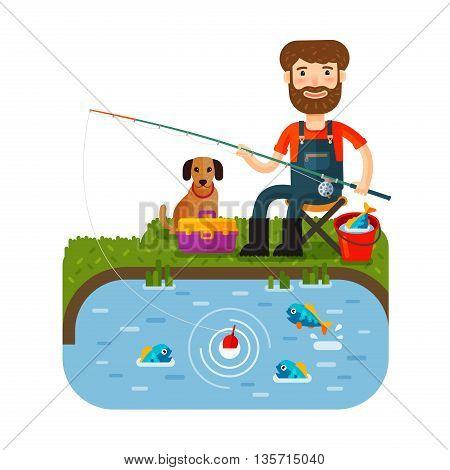 Fun fisherman catches fish. Fishing rod. flat style. Vector illustration