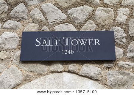 A view of the Salt Tower at the Tower of London. A total of 21 towers make up the historic Tower of London fortification.