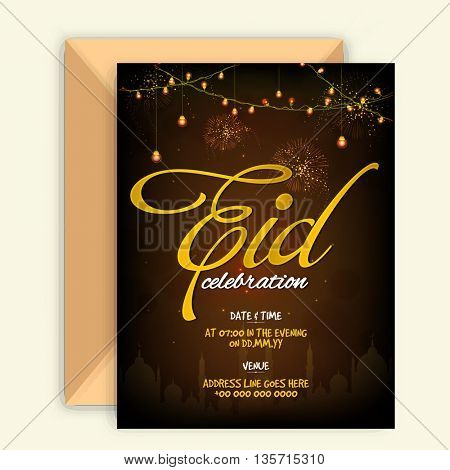 Glowing elegant Invitation Card with Envelope and Golden text Eid on Mosque silhouetted, sparkling brown background for Muslim Community Festival Celebration.