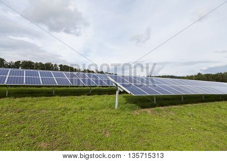Field With Blue Siliciom Solar Cells Alternative Energy