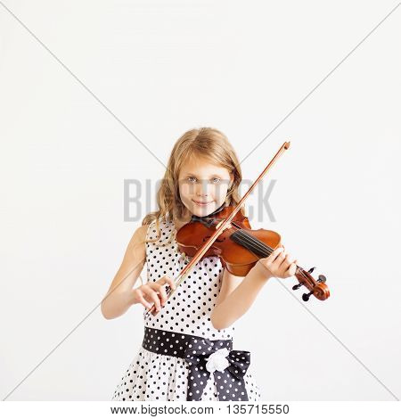 Portrait Of Girl With String And Playing Violin