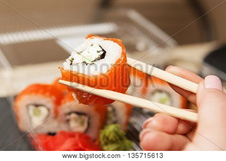 Sushi Roll Philadelphia. Business Lunch Concept