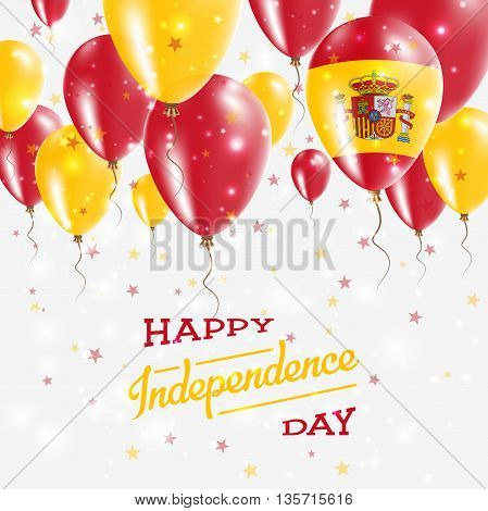 Spain Vector Patriotic Poster. Independence Day Placard With Bright Colorful Balloons Of Country Nat