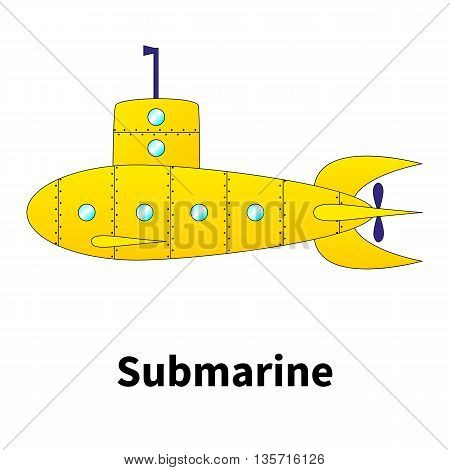 Vector illustration cartoon submarine on an isolated white background.