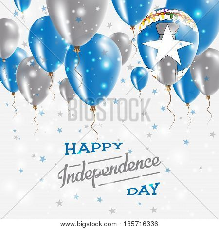 Northern Mariana Islands Vector Patriotic Poster. Independence Day Placard With Bright Colorful Ball