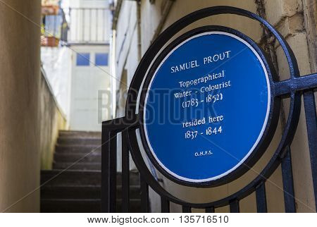 HASTINGS UK - APRIL 1ST 2016: A blue plaque marking the location where master Watercolourist Samuel Prout once lived in Hastings taken on 1st April 2016.