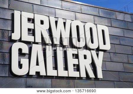 HASTINGS UK - APRIL 1st 2016: The sign on the exterior of the Jerwood Gallery which showcases the best of modern and contemporary British art in Hastings on 1st April 2016.