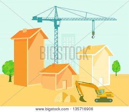construction project, house building, crane, excavator, work
