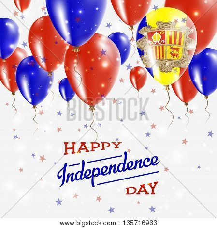 Andorra Vector Patriotic Poster. Independence Day Placard With Bright Colorful Balloons Of Country N