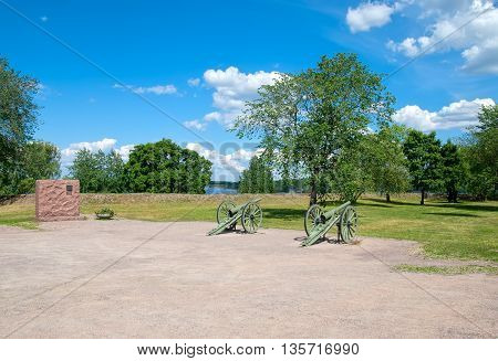 LAPPEENRANTA, FINLAND - JUNE 15, 2016: The Fortress of Lappeenranta. French 90 K/77 cannons (The De Bange 90 mm cannon (Mle 1877). First World War model that France gave Finland during the Winter War