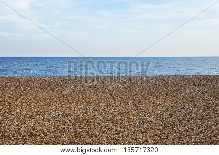 The pebbled beach and sea view at Hastings in Sussex.