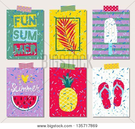 Set of six vector bright summer cards.