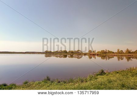 Big lake along the shores overgrown with reeds. On the lake there are pine and birch. A clear cloudless day.