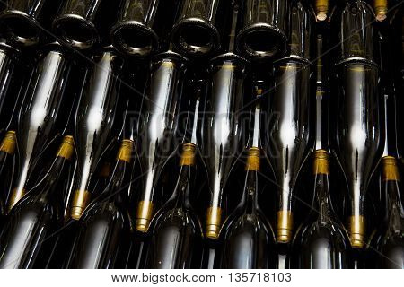 The wine bottles in the factory close-up