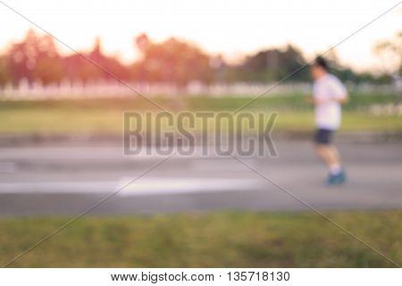 Blur running man, Sport fitness running outside