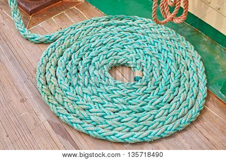 Mooring Rope On Wooden Deck Of A Sailboat