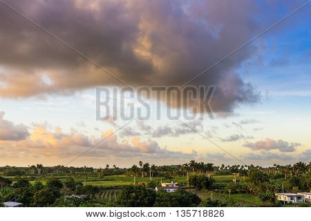 Landscape in the countryside from Santa Clara in the province Villa Clara inCuba