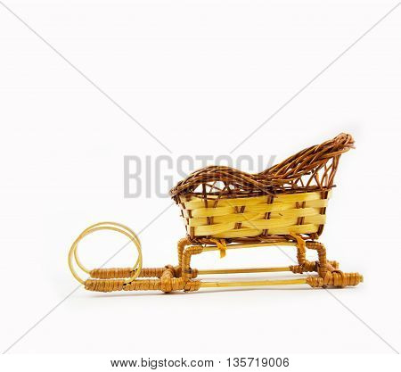 Wooden sleigh isolated on white background. Christmas accessories.