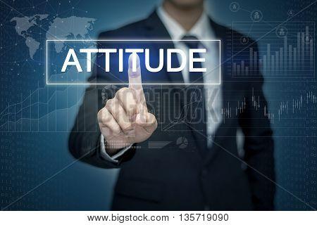 Businessman hand touching ATTITUDE button on virtual screen