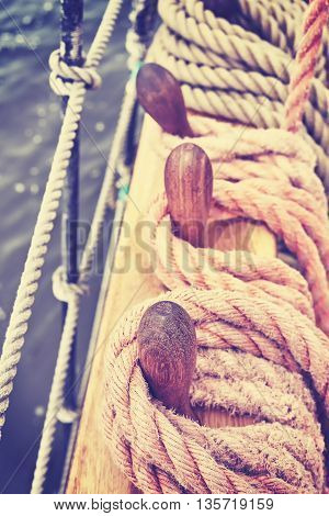 Vintage Toned Rigging Of An Old Sailing Ship.