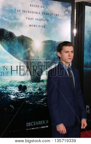 NEW YORK-DEC 7: Actor Tom Holland attends the New York premiere of