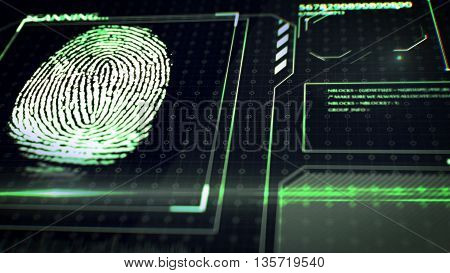 Scanning Fingerprint. Interface Hud.