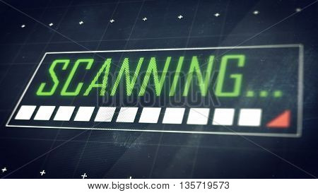 Scanning... Title On Screen. Technology Background.