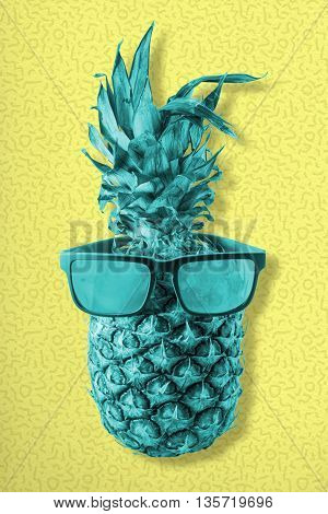 Colorful Retro Pineapple Fruit Wearing Sunglasses