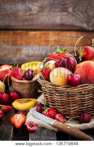 Fresh Ripe Summer Berries And Fruits