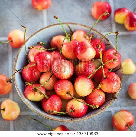 Bowl Of Fresh Wet Pink Cherry