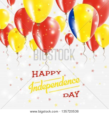 Romania Vector Patriotic Poster. Independence Day Placard With Bright Colorful Balloons Of Country N