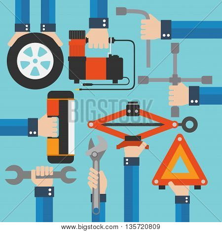 Emergency road kit itemsauto mechanic tools modern flat design.Vector illustration