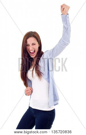Happy woman winning with raised arms, isolated on white background