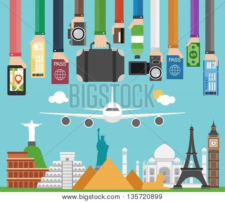 Travel composition with famous world modern flat design.Vector illustration