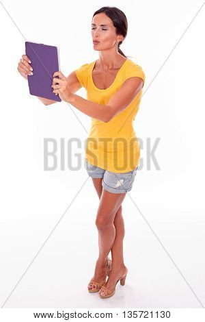 Happy Brunette Woman Blowing A Kiss