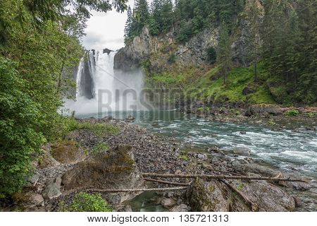 A panoramic shot of Snoqualmie Falls in Washington State.