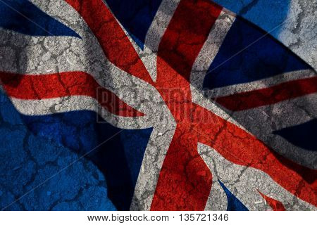 British flag on rugged background - Brexit concept