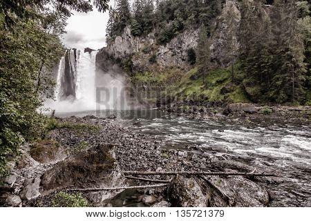 A retro image of Snoqualmie Falls in Washington State.