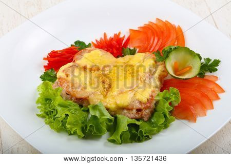 Pork Steak With Tomato And Cheese