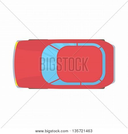 Red car top view icon in cartoon style on a white background