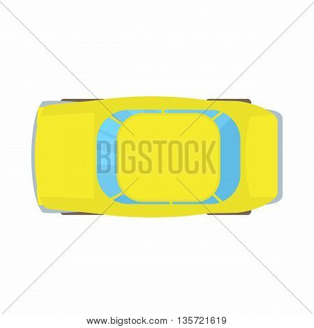 Yellow car top view icon in cartoon style on a white background