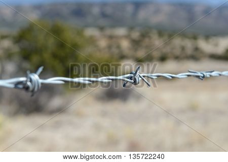 Close up steel barbwire to stop trespassing the land