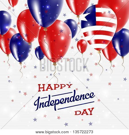 Liberia Vector Patriotic Poster. Independence Day Placard With Bright Colorful Balloons Of Country N