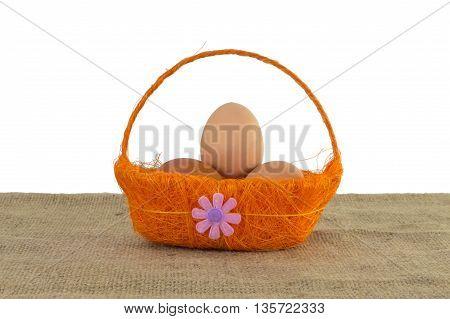 Basket of Eggs Isolated on White Background