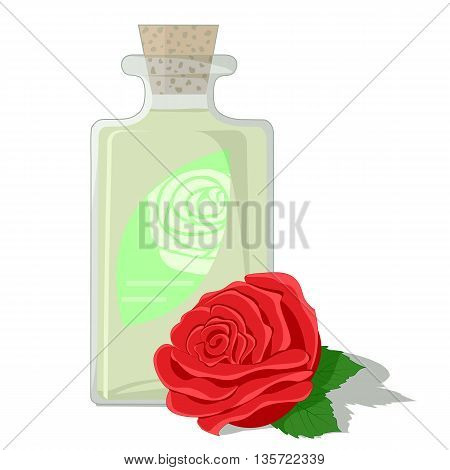 Red rose and a bottle filled with attar